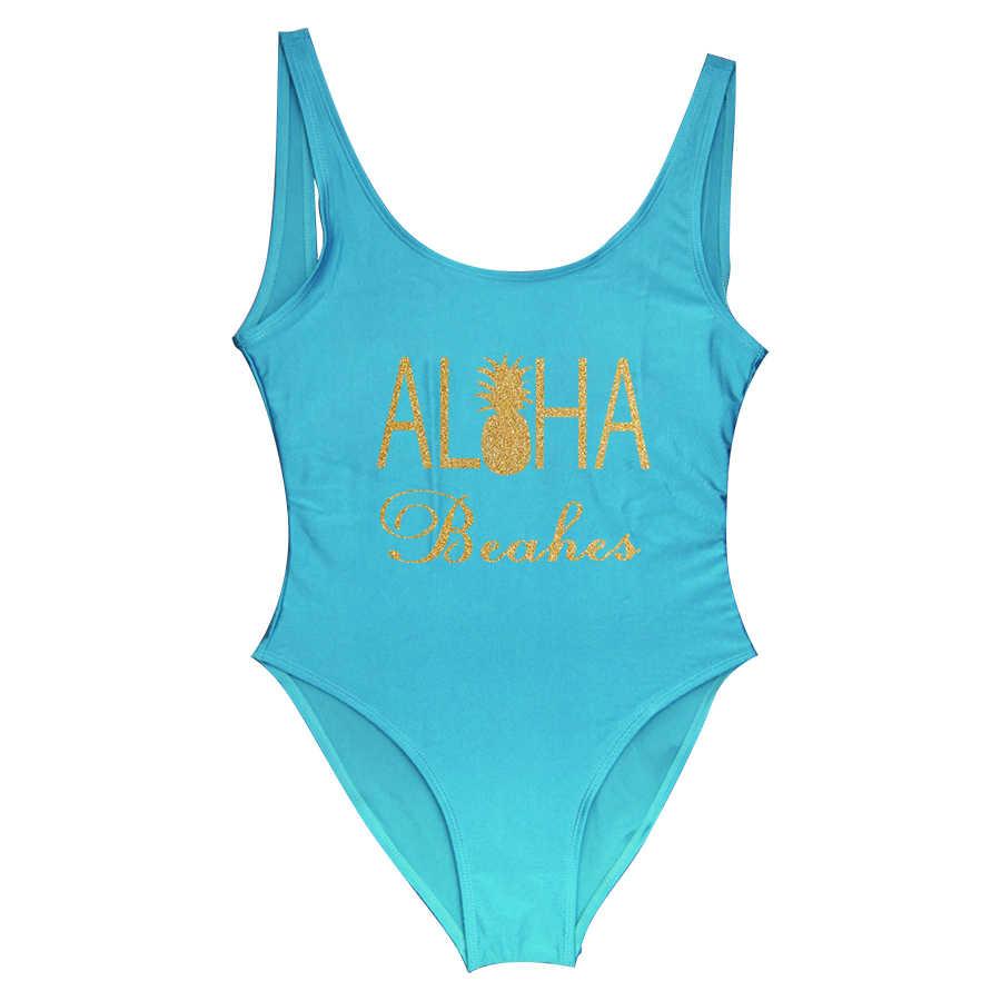 Bling Cetak One Piece Swimsuit Aloha Pantai Pengantin Pakaian Nanas Pengantin Pengiring Pengantin Pakaian Renang Lajang Bikini