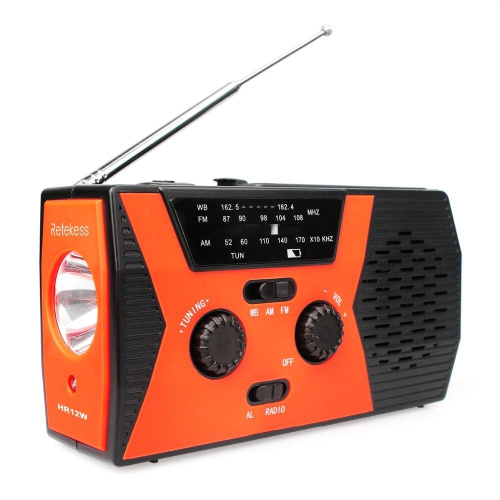 купить RETEKESS HR12W FM AM NOAA SOS Emergency Radio Weather Report Waterproof LED Lighting Hand Crank Solar Radio Receiver For Camping недорого