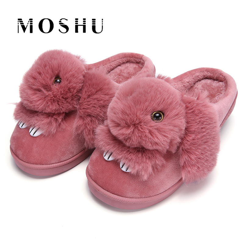 Woman Winter Home Slippers Ladies Animal Cute Bunny Warm Plush Indoor House Slippers Women Soft Fur Slides Zapatos Mujer 2017 totoro plush slippers with leaf pantoufle femme women shoes woman house animal warm big animal woman funny adult slippers page 8
