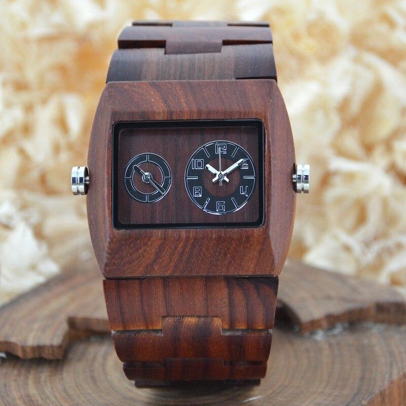 BEWELL montre de luxe en bois fuseau horaire Unique montre en bois de santal rouge pour hommes de luxe marque rôle montres Rectangle Case 021C