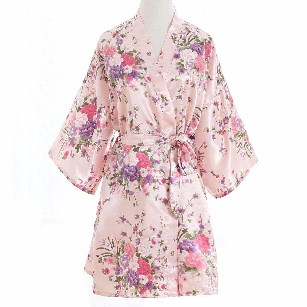 Más tamaño moda damas Kimono corto noche Robe baño vestido rosa ...