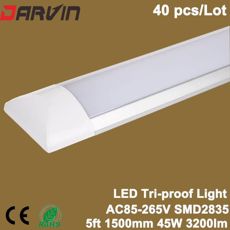 Led Cleaning Purification Light 5ft 45W 1500mm Led Tri-proof Batten Light Led Tube AC85-265V 110V 220V Linear Lamp