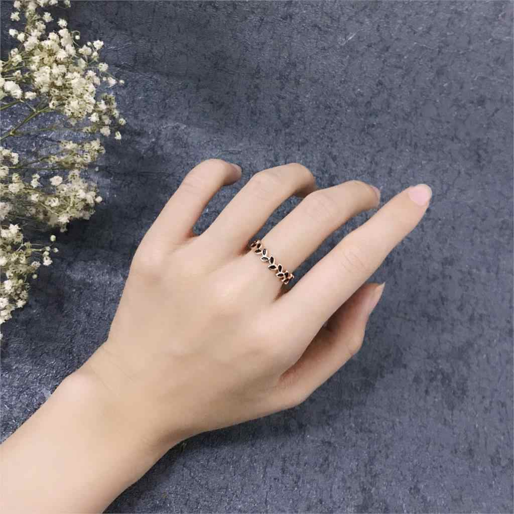 ダブルフェアドロップ釉薬柳の葉のリングパーティークラシックローズゴールド色婚約ファッションジュエリーの wholsale DFR183