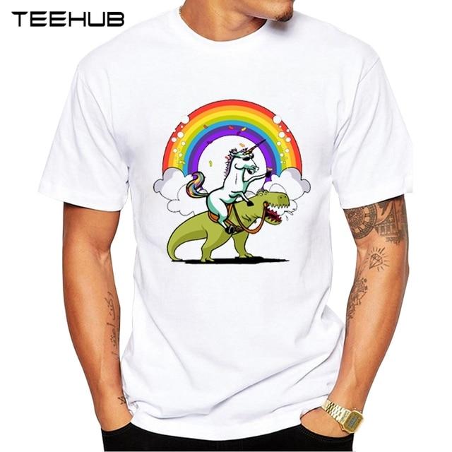 TEEHUB 最新虹スケーター男性 Tシャツおかしい乗馬恐竜プリント男性 O ネック半袖男性のオタク Tシャツシャツ