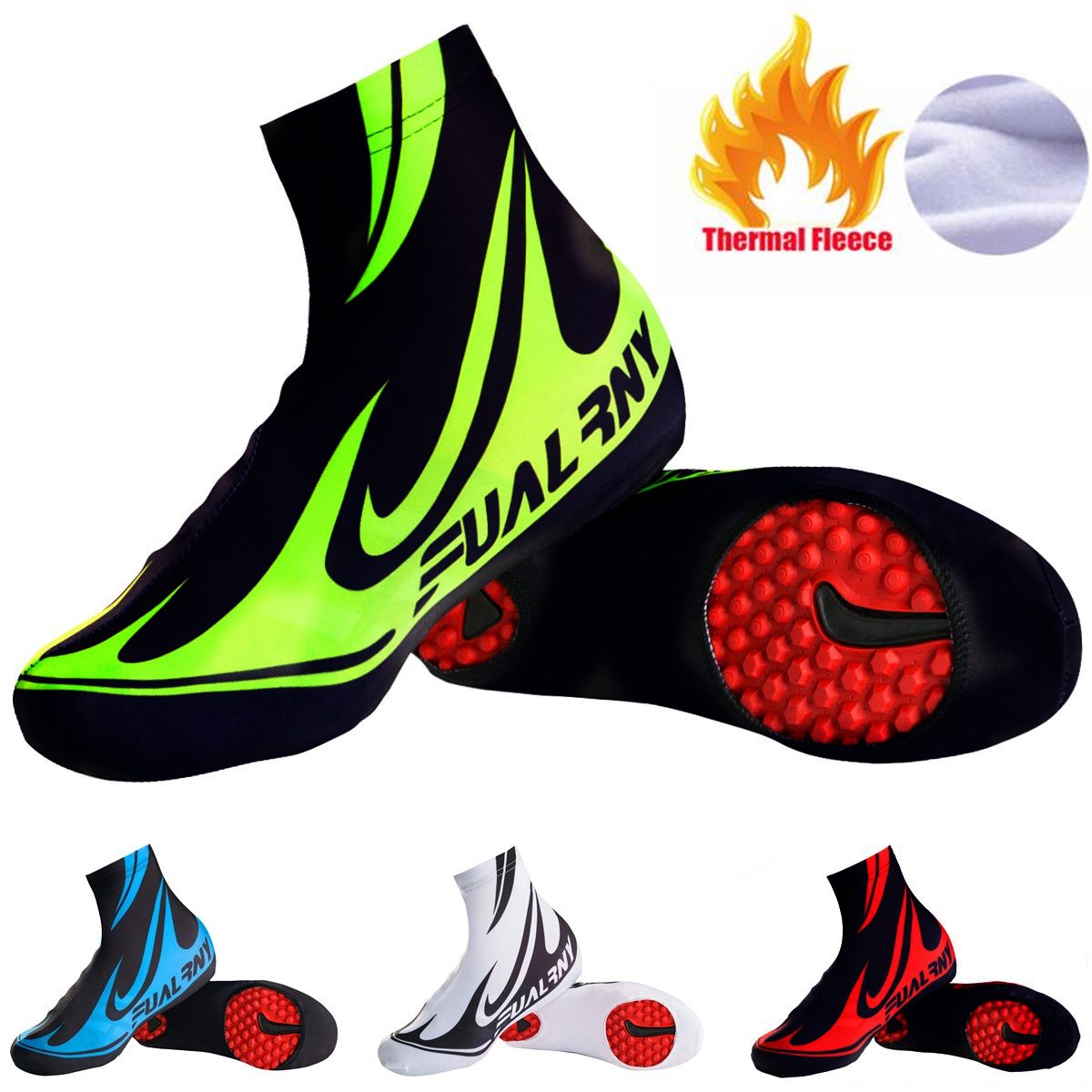Brand Cycling Shoe Cover Reflective MTB Bicycle Overshoes Winter Thermal Fleece Road Racing Bike Shoes Cover Copriscarpe|  - title=