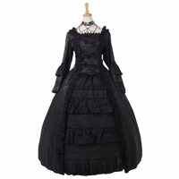 Custom Made Elegant Black Victorian Gothic Dress Ball Gown Adult Halloween Carnival Party Costume D0422