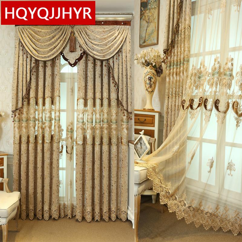 Luxury Kitchen Curtains: Brown European Luxury High Quality Embroidered Curtains