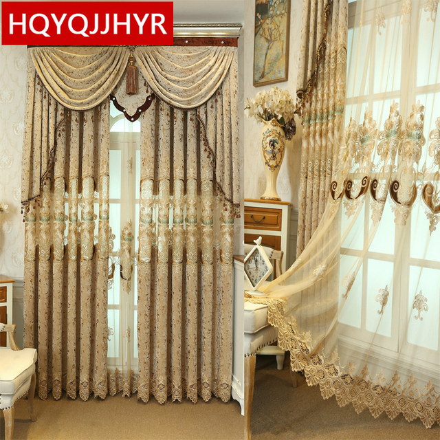 Brown European Luxury High Quality Embroidered Curtains For Living Room Clic Royal Custom Curtain Bedroom