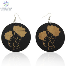 SOMESOOR Carved Headwrap Woman Wood African Earrings 2019 Afrocentric Black Beauty Handmade Ear Dangle Jewelry For Women Gift