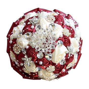 Rhinestone bordowy bukiety ślubne bukiet ślubny akcesoria ślubne dla nowożeńców bukiet ślubny kwiaty ślubne bukiety tanie i dobre opinie Poliester 23cm 18cm LBKKC DRESSES