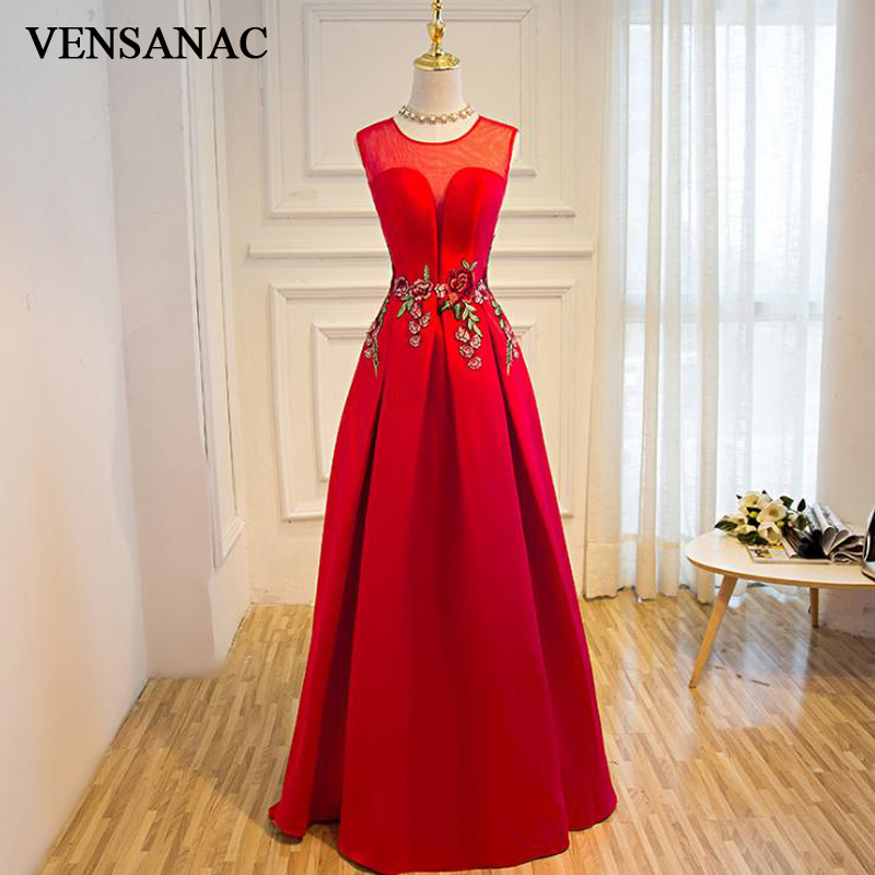 VENSANAC 2018 Sheer O Neck Floral Print Long A Line   Evening     Dresses   Elegant Lace Embroidery Open Back Party Prom Gowns