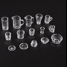 15 шт./компл. чашка для кукольного домика набор миниатюрных прозрачных тарелок чашка тарелка миска посуда набор 1:12 весы кукла еда кухня гостиная