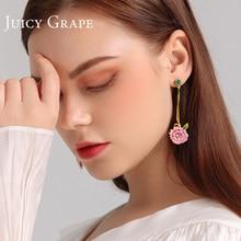 Women Earrings Jewelry Pink Heart Juicy-Grape Hand-Painted Temperament Teen Enamel