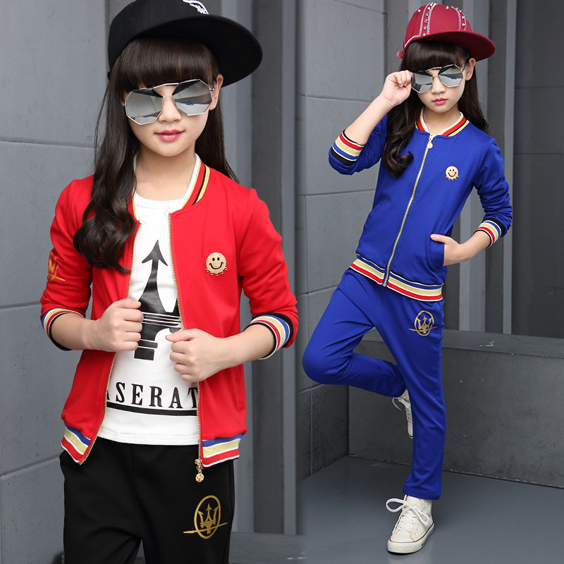 Children's Garment Girl Autumn Clothing Suit New Pattern Children Motion Leisure Time Two Pieces Kids Clothng Sets 2017 new pattern small children s garment baby twinset summer motion leisure time digital vest shorts basketball suit