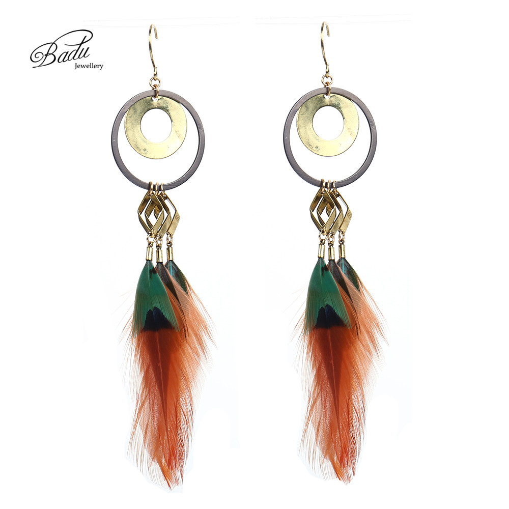 Badu Women Vintage Earring Long Mix Color Feather Earrings Fashion Jewelry Black Friday Party Handmade