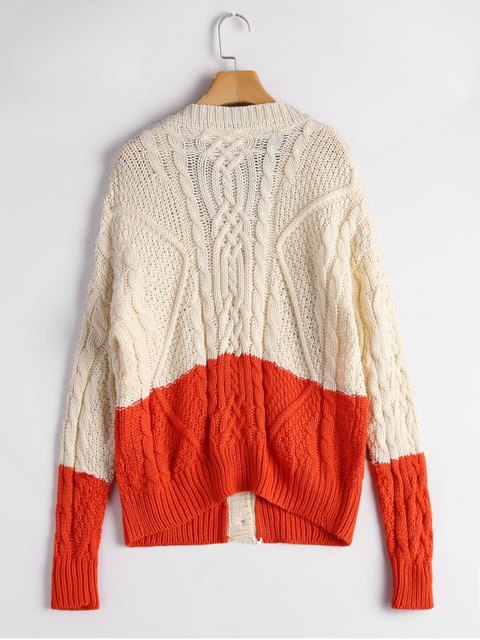Button Up Contrast Cable Knit Cardigan Casual Loose Simple Autumn ...