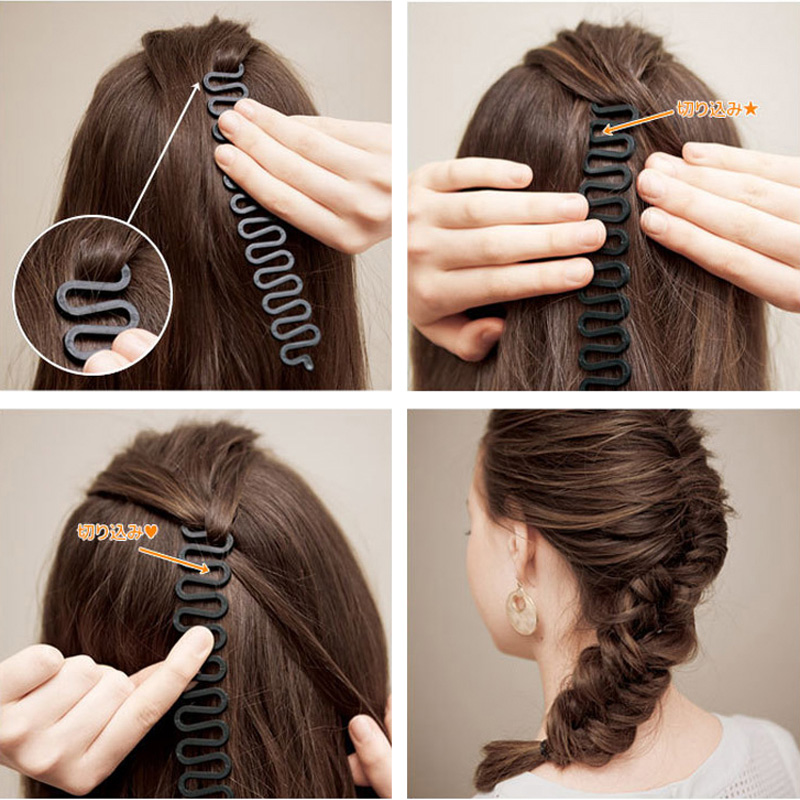 New 3PCS Wholesale Women Braid Elegant Hair Black Brown Plastic Diy Maker Tools Headbands Hairbands Hair Accessories Set