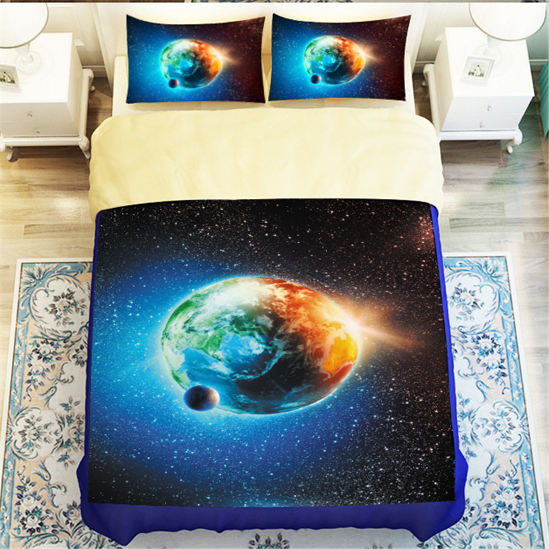 Outer Space Star Earth Night 3D Galaxy Blue & Beige Reversible Bedding Set 3 or 4pcs Full Queen King Size Duvet Cover Bedlinen