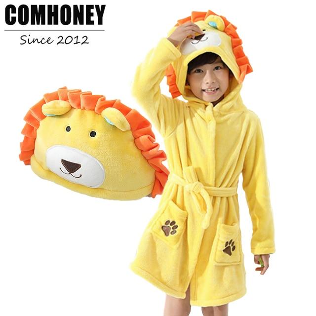 8ac6e3ca83 Children Towel Beach Flannel Hooded Nightgown Baby Animal Bathrobe for Boys  Bath Robe Girls Pajamas Kids Sleepwear Clothing