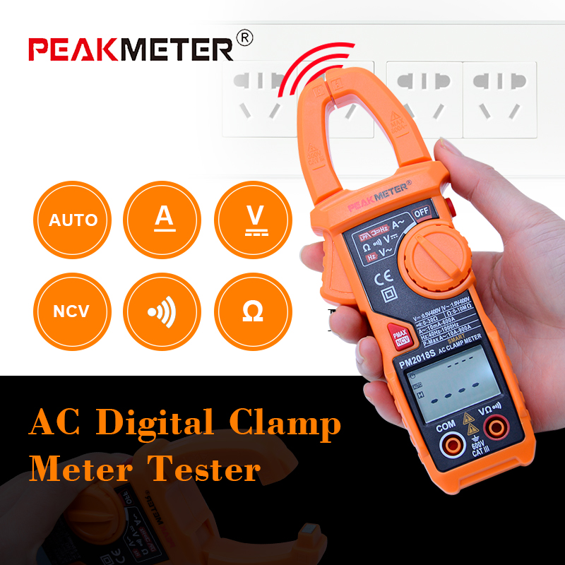 PEAKMETER PM2018S Digital clamp meter Auto range AC current multimeter with NCV Dual display function auto range clamp style digital multimeter with strap dt3266l