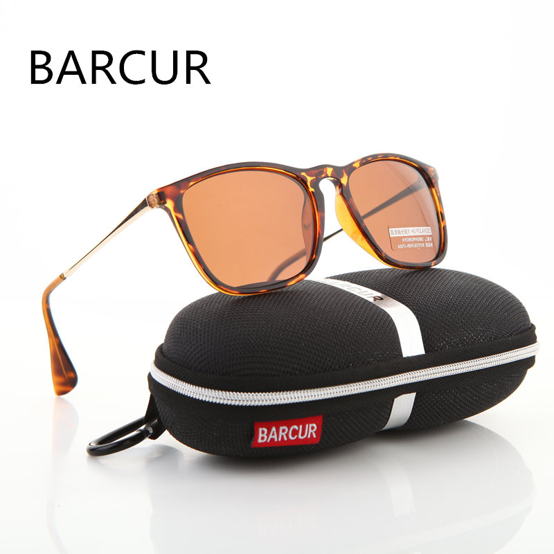 BARCUR Brand Designer Sommar Mode Unisex Sun Glasses Polariserad Coating Mirror Classic Solglasögon Man Eyewear For Men / Women