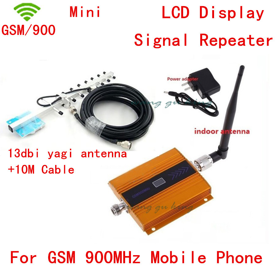 Hot Selling Full Set LCD Display !!! 900MHz Signal Booster / GSM Signal Repeater With Yagi Antenna + Cable + Indoor Antenna