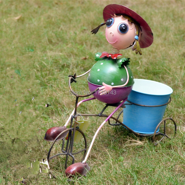 Metal Cartoon Girl Bike Pot Bicycle Plant Stand Holder Iron Art Garden  Ornament Free Shipping