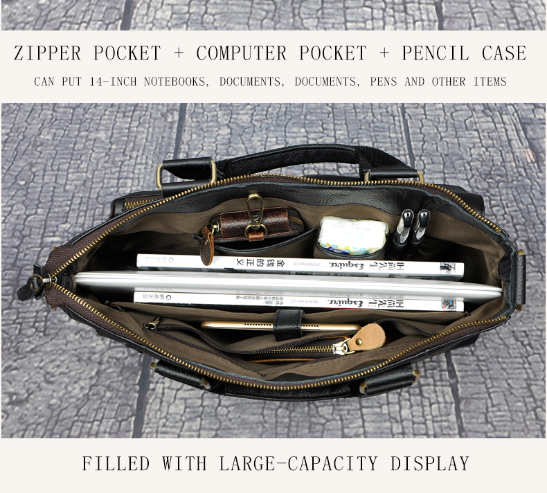 "HTB1yegQX7fb uJjSsD4q6yqiFXa4 Men Genuine Leather Office Maletas Business Briefcase 15.6"" Laptop Case Attache Portfolio Bag Maletin Messenger Bag B260"