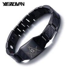 Men Bangle Stainless Steel Freemasons Chain Bracelets & Bangles Mens Cuff Wristband Biker Motorcycle Black Watch Band Bracelet