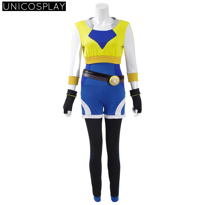 Anime Pokemon Go Trainer Uniform Cosplay Costume Women Suits Halloween Party Blue Jumpsuit with Yellow Top Coat Outfit Full Sets