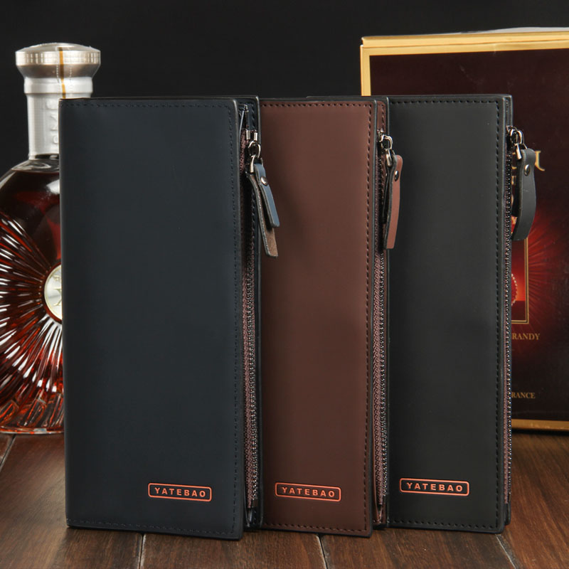Wholesale Price Fashion Business Long Men Wallets Button Zipper Quality Soft Leather 3 Colors Card Holder Wallet Free Shipping men s young men s jeans wholesale price