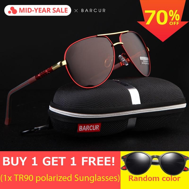 BARCUR Aluminum Magnesium Men/'s Sunglasses Polarized Men Coating Mirror Glasses