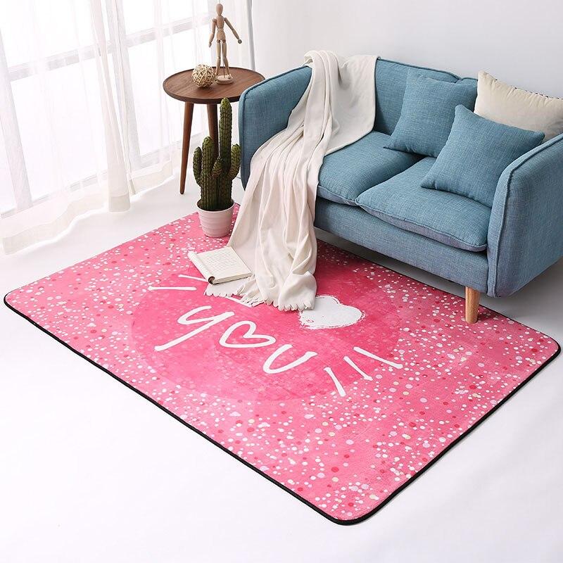 Mode mignon rose/bleu/jaune motif coeur enfants zone tapis maison décorateur tapis de sol anti-dérapant lavable Durable tapis