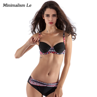 2017 Summer Bikini Set Low Waist Print Swimwear Women Sexy Bench Swimsuit Bathing Suit Push Up