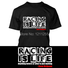 Logo Race Is Life Steve McQueen Le Mans 24HR Quote Mens Black T-shirt Cotton NEW T Shirt Men Printed Custom TShirt Casual Tees