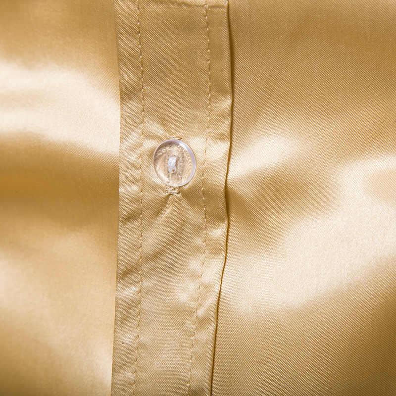 Trajes de esmoquin negro sólido camisa de los hombres de satén de seda de manga de pétalo de flor vestido de cuello mandarín para hombre camisa de fiesta de boda