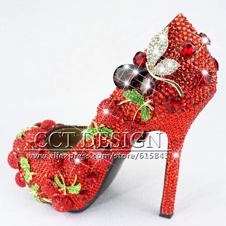2016 Handmade Red High Heels Wedding Shoes With Rhinestones Cherry Sexy Women Party Prom Pumps Shoes Free Shipping