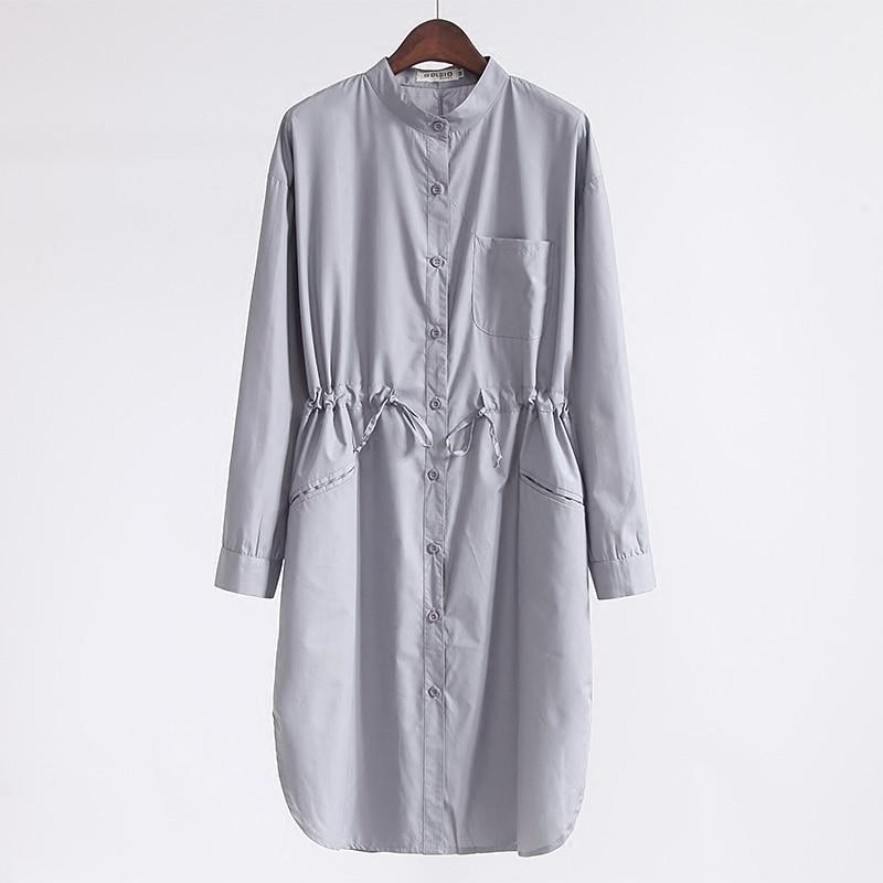 Mujer Larga Salvaje De Windbreaker 4 Camisa Sólido Nuevo Sección Estilo Simple Primavera Collar Color 2 Delgada Cintura 3 Dd59 1 La V EwaqACn