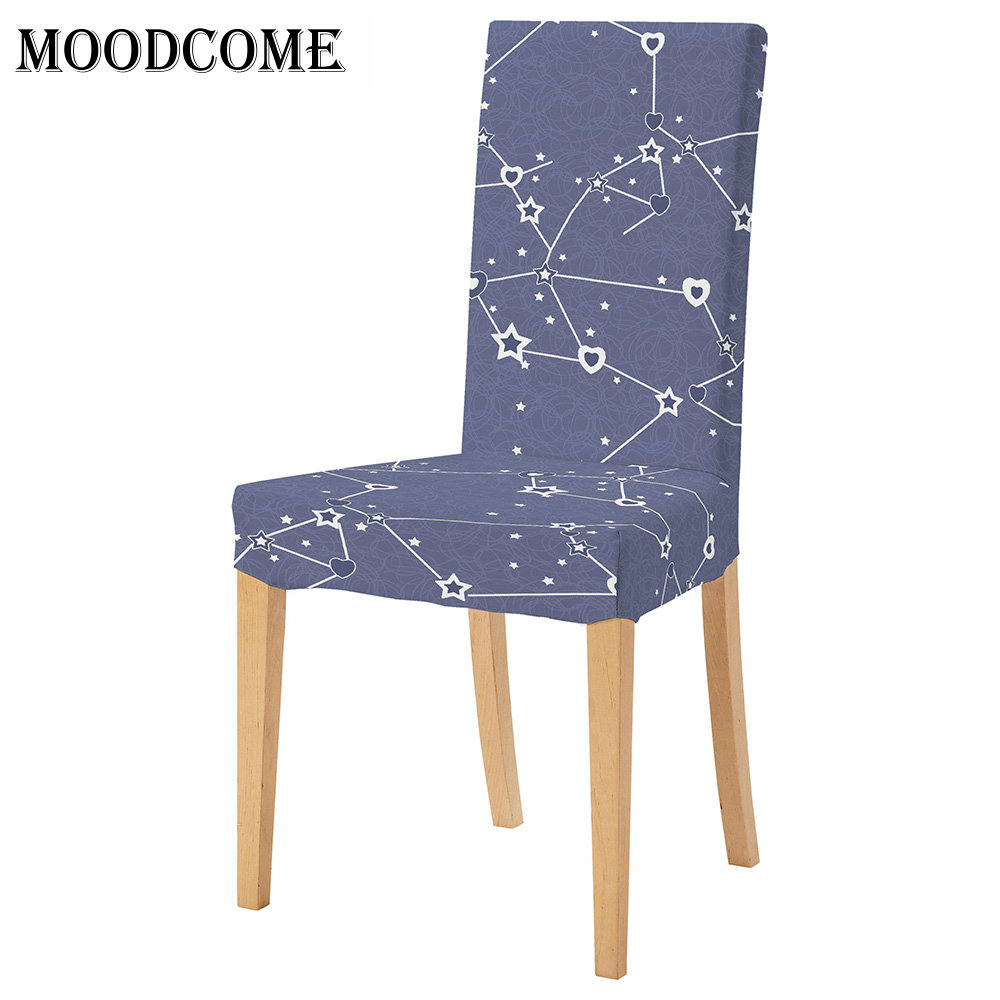 Printing Dining Chair Cover Removable Elastic Banquet Folding Dining Room Chair Cover For Modern Kitchen Chair