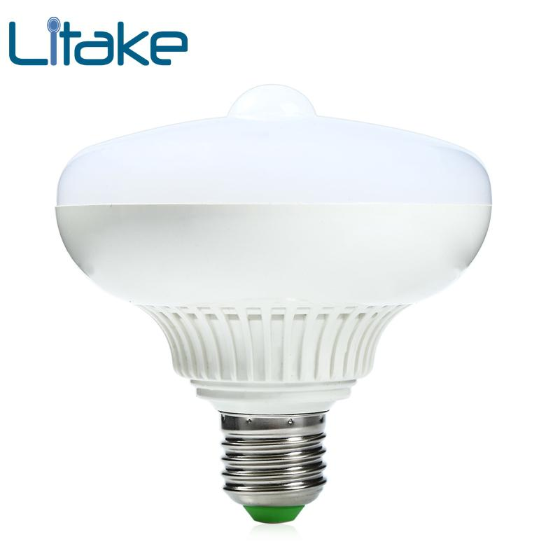 Litake E27 12W LED Infrared Motion Sensor Pir Warm White Light Bulb Lamp auto switch Stairs light (12W PIR-Warm White) mi light 2 4g 1pcs lot 12w led downlight remote rf control wireless bulb lamp white warm white down light 85 265v