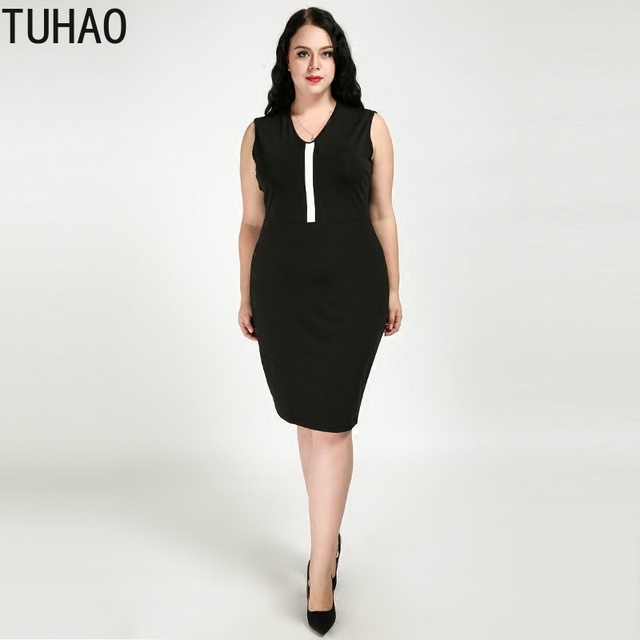 US $25.76 44% OFF|TUHAO 2019 SUMMER Elegant Dresses Women Dress Office  Casual White Black Dress 2019 PLUS SIZE 7XL 6XL 5XL Ladies Dresses RL-in ...