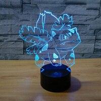 Newest Pokemon Go Venusaur 3D Illusion LED Lamp Acryic 7 Color Change Touch Usb Decorative