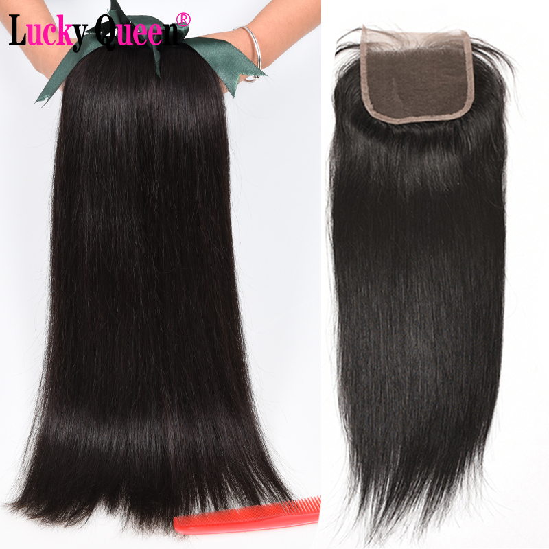 Malaysian Straight Hair Bundles With Closure 4pcs/lot Non Remy Human Hair Bundles With Closure Lucky Queen Hair Products-in 3/4 Bundles with Closure from Hair Extensions & Wigs    1