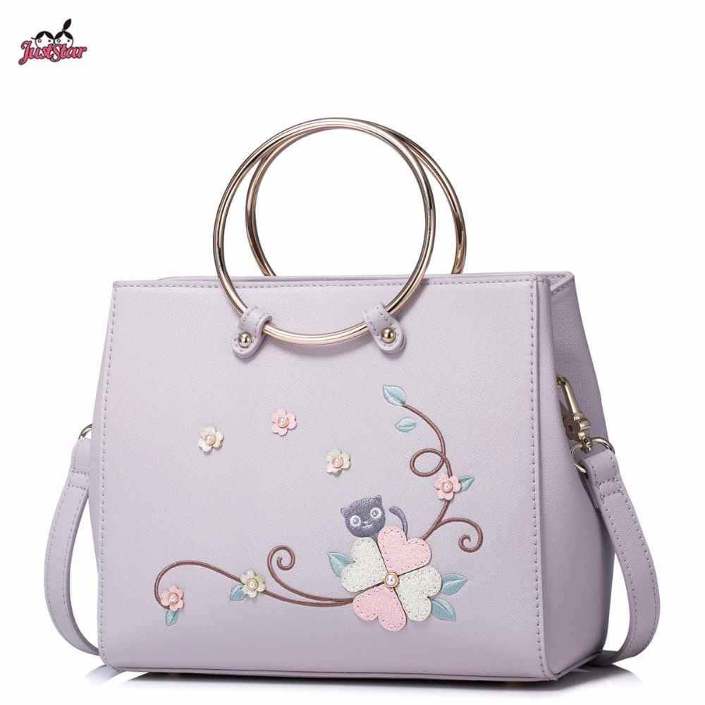 Just Star Brand Design Fashion Embroidery Collage Flower Ring PU Women Leather Girls Ladies Handbag Shoulder Crossbody Bag just star brand new design fashion flowers pu leather women s handbag ladies girls shoulder cross body drawstring bucket bag
