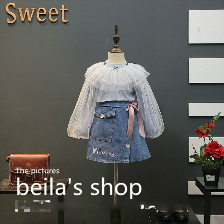 2018 spring new Han Van children mesh yarn lotus leaf collar shirt with A word denim skirt two sets of sets 2017 autumn girl doll shirt the fashionable two piece set of pure color lotus leaf coat with harness sets tide