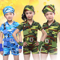 10pcs/lot Free Shipping Camouflage Children Dance Costumes for Competition Kids Boys Girls Stage Dance Clothes Military Uniforms
