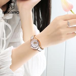 Image 3 - SEKARO נשים קרמיקה ריינסטון שעון אהבת עיצוב נשים של שעוני יד למעלה מותג יוקרה נשים שעונים מתנה Relogio Feminino