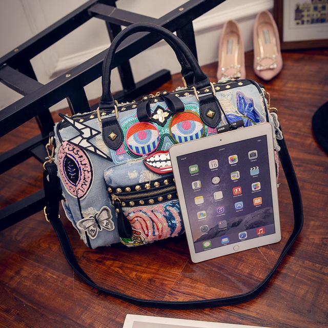 Rock Style Fashion Totes Women Denim Handbags Casual Shoulder Bags Vintage Demin Blue Top Handle Bags Bolsa Large Travel Bag 198