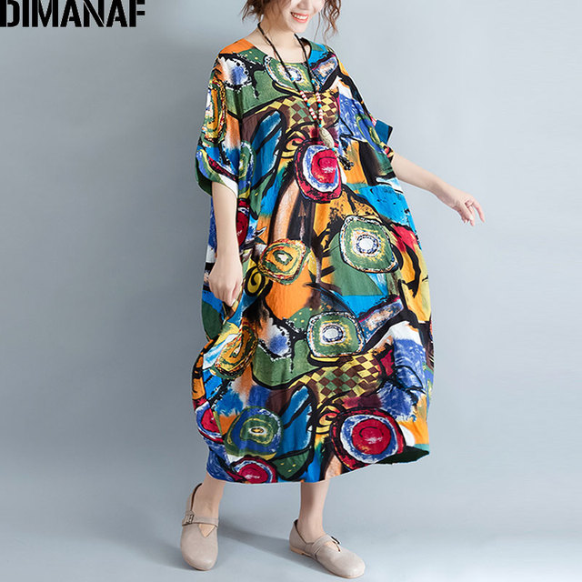 Women Dress Plus Size Summer Pattern Print Linen Colorful Female Loose Batwing Casual Retro Vintage Large Size Dresses 2