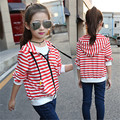 2016 Autumn Winter Girls Kids Stripe Casual Baseball Sport Jacket Feminine Children's Korean Fashion Button Long Coat Jackets